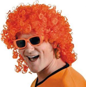Oranje krullen pruik