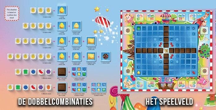 Het speelveld van het Candy Crush gezelschapsspel