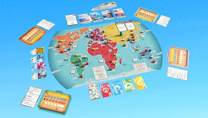 Trekking the World bordspel whats in the box